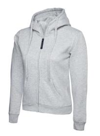 Uneek Ladies Classic Full Zip Hooded Sweatshirt - Heather Grey