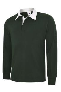 Uneek Classic Rugby Shirt - Bottle Green