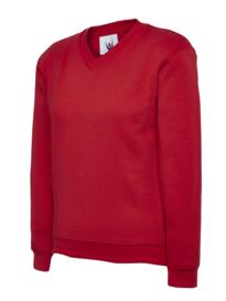 Uneek Childrens V Neck Sweatshirt - Red
