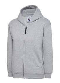 Uneek Childrens Classic Full Zip Hooded Sweatshirt - Heather Grey