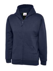 Uneek Childrens Classic Full Zip Hooded Sweatshirt - Navy Blue
