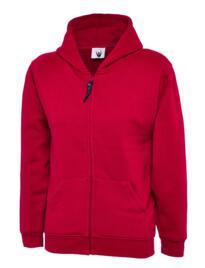 Uneek Childrens Classic Full Zip Hooded Sweatshirt - Red