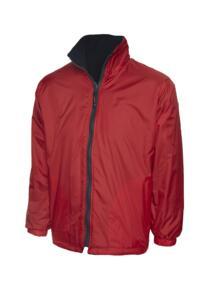 Uneek Childrens Reversible Fleece Jacket - Red  / Navy Blue
