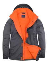 Uneek Deluxe Outdoor Jacket - Deep Grey and Fiery Orange
