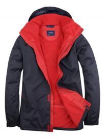 Uneek Deluxe Outdoor Jacket - Navy Blue / Red