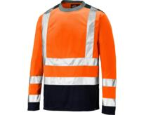 Dickies Long Sleeve Two Tone Hi Vis T-Shirt - Orange