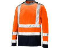 Dickies Long Sleeve Two Tone Hi Vis T-Shirt - Orange