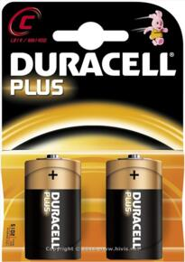 Duracell Plus Alkaline Battery - C - Pack 2