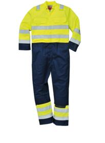 Hi-Vis Bizflame Pro Coverall - BIZ7 - Yellow / Navy Blue