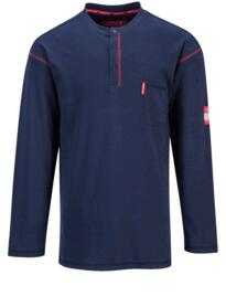 Button Down Flame resistant Henley Shirt - Navy Blue