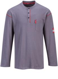 Button Down Flame Resistant Henley Shirt - Grey
