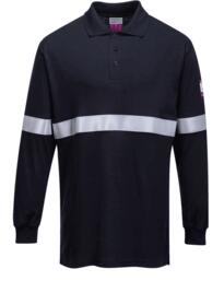 Flame Resistant Anti-Static Long Sleeve Polo - Navy Blue