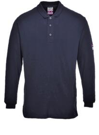Flame Resistant Anti-Static Long Sleeved Polo Shirt - Navy Blue