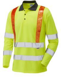 Leo HiVis CoolViz Long Sleeved Orange Brace Polo Shirt - Yellow