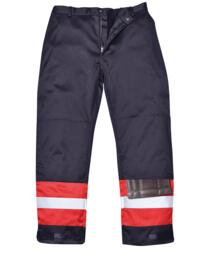 Bizflame Pro Two Tone Flame Resistant Trousers - Navy Blue / Red
