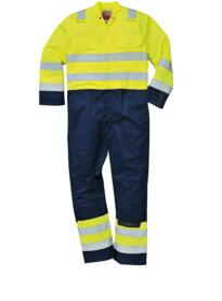 HiVis Anti-Static Bizflame Pro Coverall - Yellow / Navy Blue