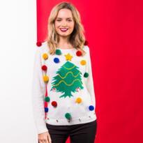 Christmas tree jumper for women - White