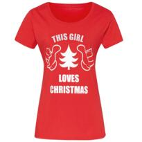 This girl loves Christmas tee shirt - Red
