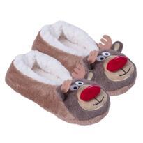 Women's Christmas Slippers - Brown - reindeer