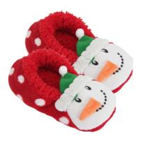 Women's Christmas Slippers - Red Snowman