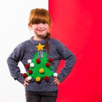 Kids 3D Christmas jumper - Grey Marl