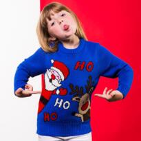 Ho Ho Ho Christmas jumper for kids - Blue