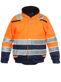 India HiVis Glow in the Dark Waterproof Jacket - Orange  / Navy Blue