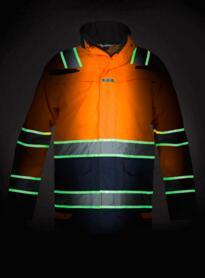 Italie HiVis Glow in the Dark Waterproof Parka - Orange  / Navy Blue