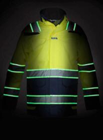 Italie HiVis Glow in the Dark Waterproof Parka - Yellow / Navy Blue
