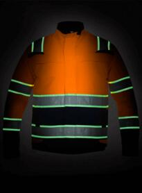 HiVis Glow in the Dark Parka Jacket - Hydrowear - Orange  / Navy Blue
