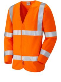 Leo HiVis Flame Retardant Long Sleeved Vest - Orange