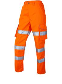 Leo HiVis Ladies Polycotton Cargo Trousers Rail Spec - Orange