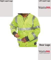 Watts Hi-Vis Deluxe Bomber Jacket (Printed Watts PM) - Yellow