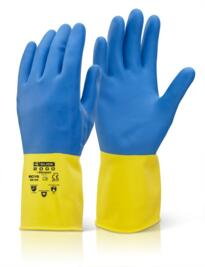 Heavyweight Rubber Gloves - Yellow/Blue