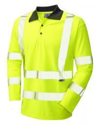 Leo HiVis Ecoviz Long Sleeved Polo Shirt - Yellow