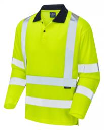 Leo HiVis Ecoviz Comfort Long Sleeved Polo Shirt - Yellow