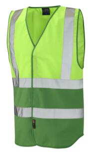 HiVis Two Tone Vest - Lime Green / Emerald Green