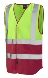 HiVis Two Tone Vest - Lime Green / Red