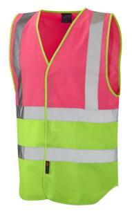 HiVis Two Tone Vest - Pink / Lime Green