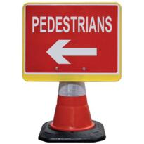 Road Cone Sign - Pedestrian Arrow Left