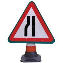 Road Cone Sign - Road Narrows Left