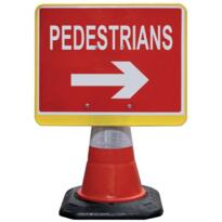 Road Cone Sign - Pedestrian Arrow Right