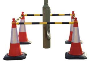 Telescopic poles for traffic cones - Yellow / Black
