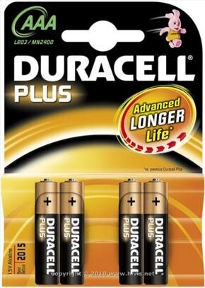 Duracell Plus Alkaline Battery - AAA - Pack 4, Batteries, Unbranded