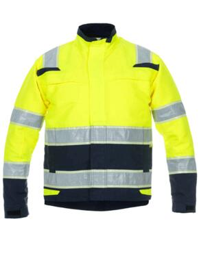 HiVis Glow in the Dark Parka Jacket - Hydrowear - Yellow / Navy Blue